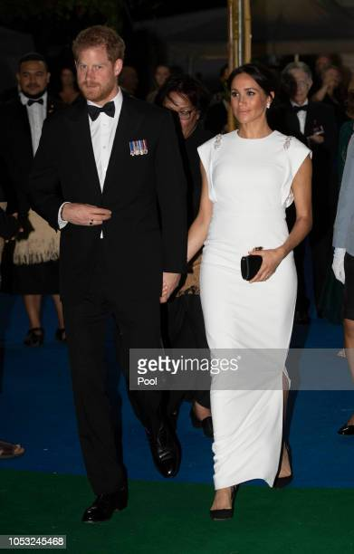 Prince Harry Duke of Sussex and Meghan Duchess of Sussex attend a state dinner at the Royal Residence on October 25 2018 in Nuku'alofa Tonga The Duke...