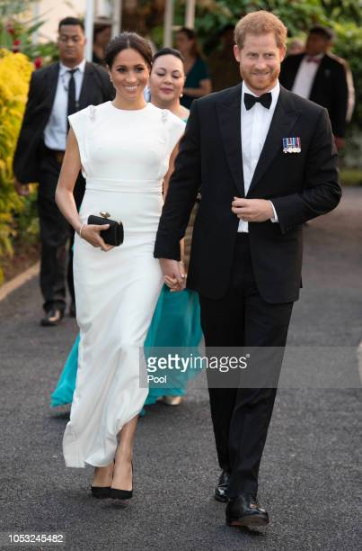 Prince Harry, Duke of Sussex and Meghan, Duchess of Sussex attend a state dinner at the Royal Residence on October 25, 2018 in Nuku'alofa, Tonga. The...