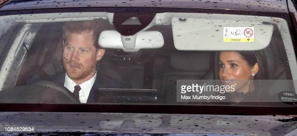 Prince Harry Duke of Sussex and Meghan Duchess of Sussex attend a Christmas lunch for members of the Royal Family hosted by Queen Elizabeth II at...