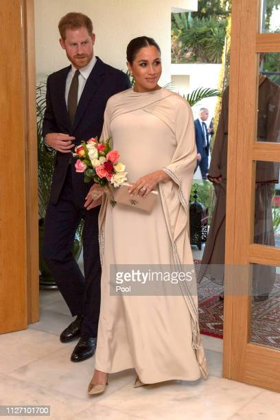 Prince Harry Duke of Sussex and Meghan Duchess of Sussex attend a reception hosted by the British Ambassador to Morocco at the British Residence...