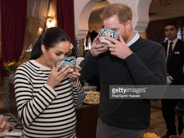 Prince Harry Duke of Sussex and Meghan Duchess of Sussex attend a cooking demonstration where children from underprivileged backgrounds learn...