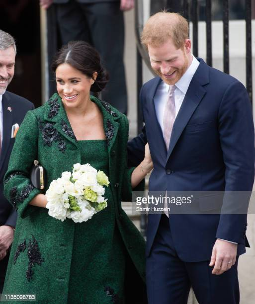 Prince Harry Duke of Sussex and Meghan Duchess of Sussex attend a Commonwealth Day Youth Event at Canada House on March 11 2019 in London England The...
