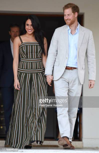 Prince Harry Duke of Sussex and Meghan Duchess of Sussex attend a reception for young people community and civil society leaders at the Residence of...