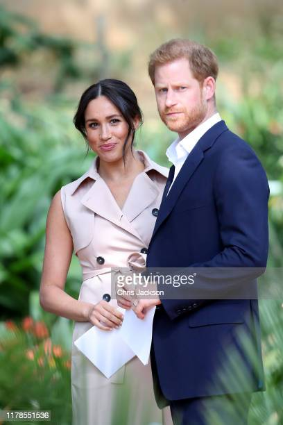 Prince Harry, Duke of Sussex and Meghan, Duchess of Sussex attend a Creative Industries and Business Reception on October 02, 2019 in Johannesburg,...