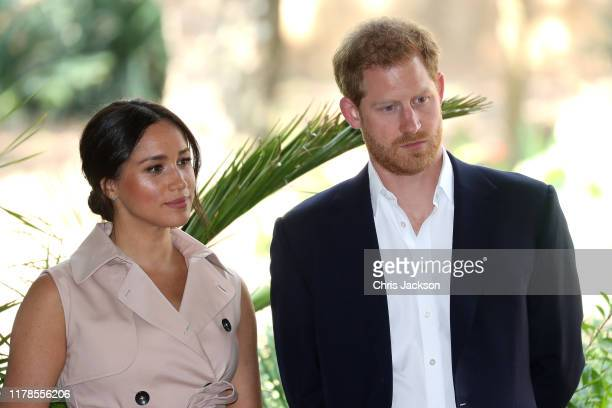Prince Harry Duke of Sussex and Meghan Duchess of Sussex attend a Creative Industries and Business Reception on October 02 2019 in Johannesburg South...