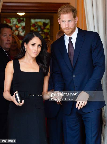 Prince Harry, Duke of Sussex and Meghan, Duchess of Sussex attend a Summer Party at the British Ambassador's residence at Glencairn House during...