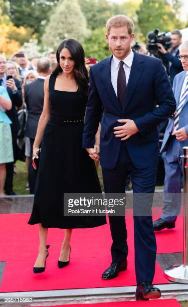 Prince Harry Duke of Sussex and Meghan Duchess of Sussex attend a Summer Party at the British Ambassador's residence at Glencairn House during their...