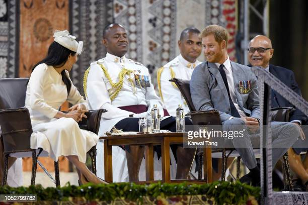 Prince Harry Duke of Sussex and Meghan Duchess of Sussex attend an official welcome ceremony in the city centre's Albert Park on October 23 2018 in...