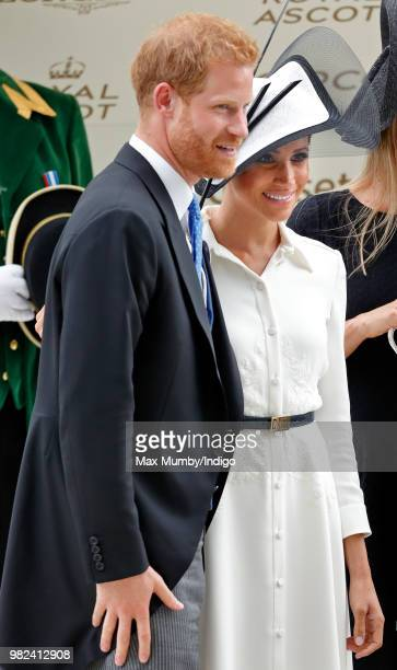 Prince Harry Duke of Sussex and Meghan Duchess of Sussex attend day 1 of Royal Ascot at Ascot Racecourse on June 19 2018 in Ascot England