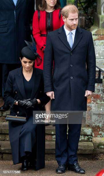 Prince Harry, Duke of Sussex and Meghan, Duchess of Sussex attend Christmas Day Church service at Church of St Mary Magdalene on the Sandringham...
