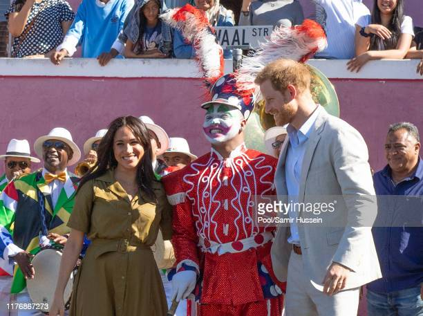 Prince Harry Duke of Sussex and Meghan Duchess of Sussex attend Heritage Day public holiday celebrations in the Bo Kaap district of Cape Town during...