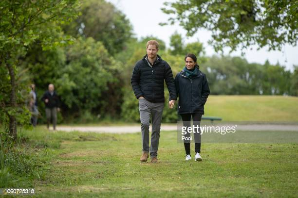 Prince Harry Duke of Sussex and Meghan Duchess of Sussex attend Totaranui Campground in the Abel Tasman National Park on October 29 2018 in...