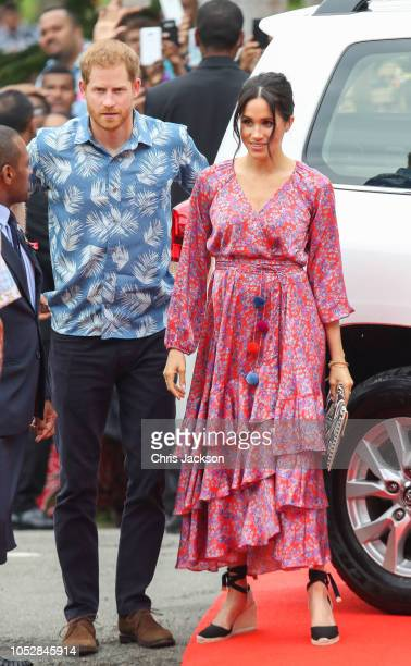 Prince Harry, Duke of Sussex and Meghan, Duchess of Sussex attend University of the South Pacific on October 24, 2018 in Suva, Fiji. The Duke and...