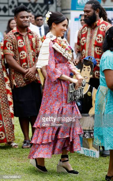 Prince Harry Duke of Sussex and Meghan Duchess of Sussex attend University of the South Pacific on October 24 2018 in Suva Fiji The Duke and Duchess...