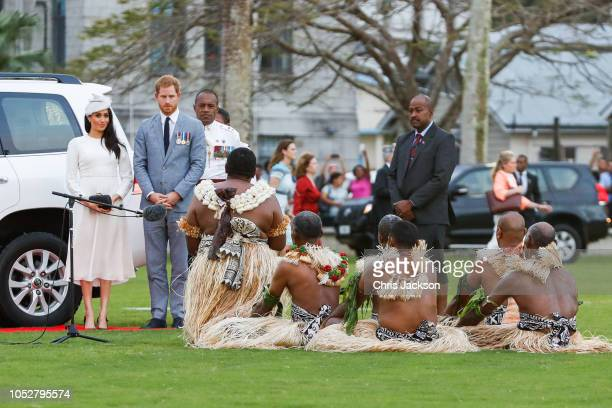 Prince Harry Duke of Sussex and Meghan Duchess of Sussex attend welcome ceremony on October 23 2018 in Suva Fiji The Duke and Duchess of Sussex are...