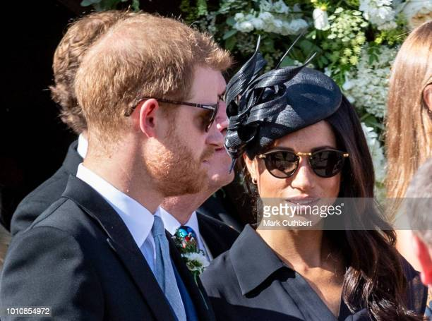 Prince Harry Duke of Sussex and Meghan Duchess of Sussex attend the wedding of Charlie Van Straubenzee and Daisy Jenks on August 4 2018 in Frensham...