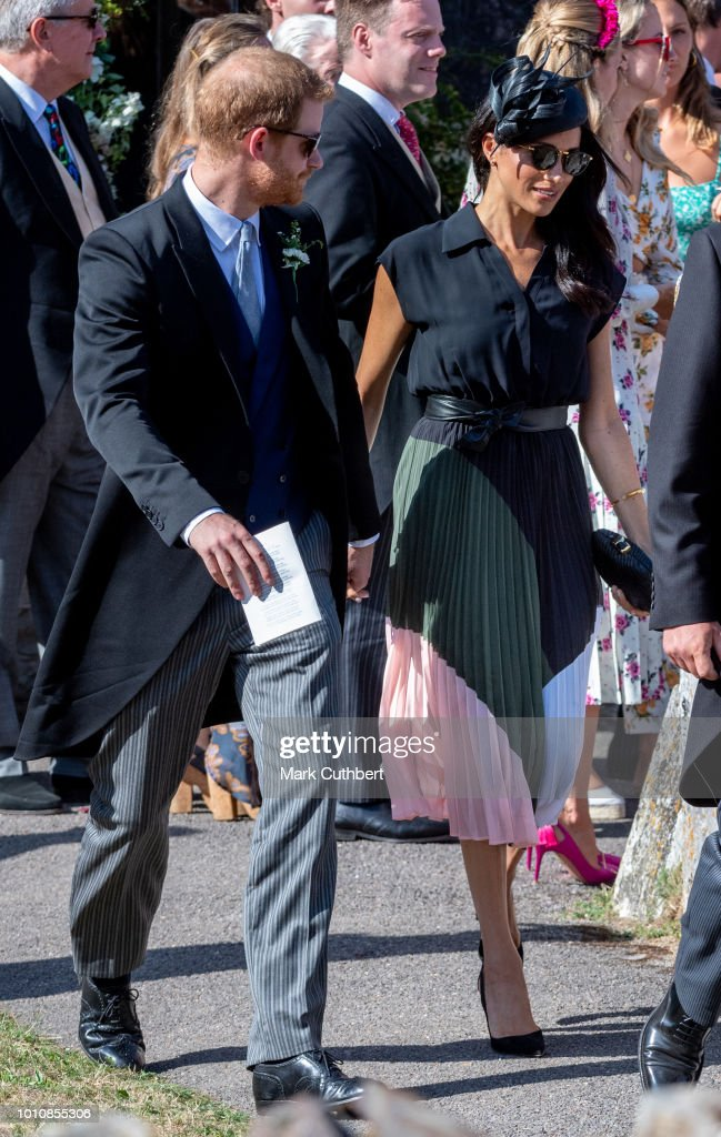 Prince Harry, Duke of Sussex and Meghan, Duchess of Sussex attend the wedding of Charlie Van Straubenzee and Daisy Jenks on August 4, 2018 in Frensham, United Kingdom. Prince Harry attended the same prep school as Charlie van Straubenzee and have been good friends ever since.