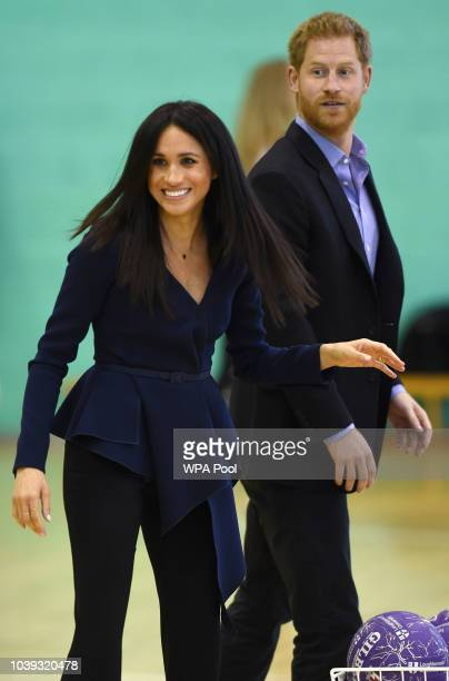 Prince Harry Duke of Sussex and Meghan Duchess of Sussex attend the Coach Core Awards held at Loughborough University on September 24 2018 in...