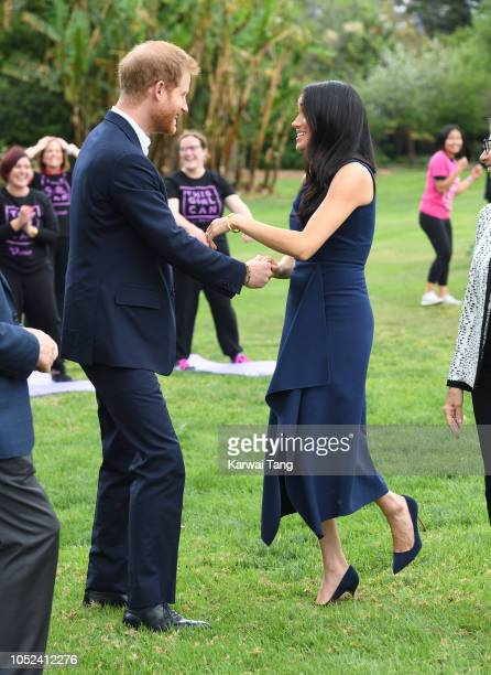Prince Harry Duke of Sussex and Meghan Duchess of Sussex attend the This Girl Can campaign at Government House on October 18 2018 in Melbourne...