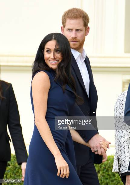 Prince Harry, Duke of Sussex and Meghan, Duchess of Sussex attend the This Girl Can campaign at Government House on October 18, 2018 in Melbourne,...