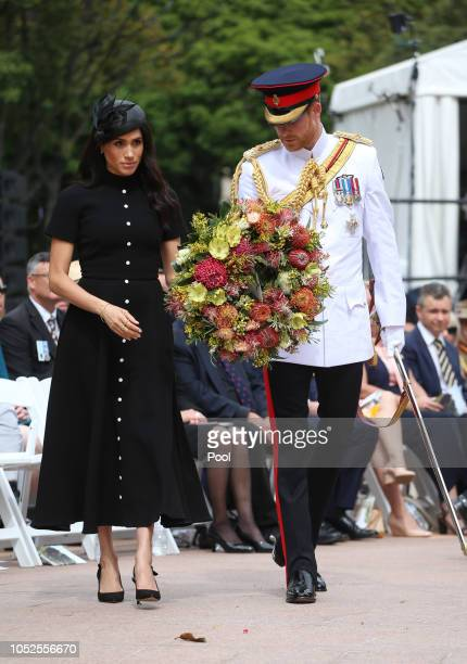 Prince Harry Duke of Sussex and Meghan Duchess of Sussex attend the Official opening of ANZAC Memorial in Hyde Park on October 20 2018 in Sydney...