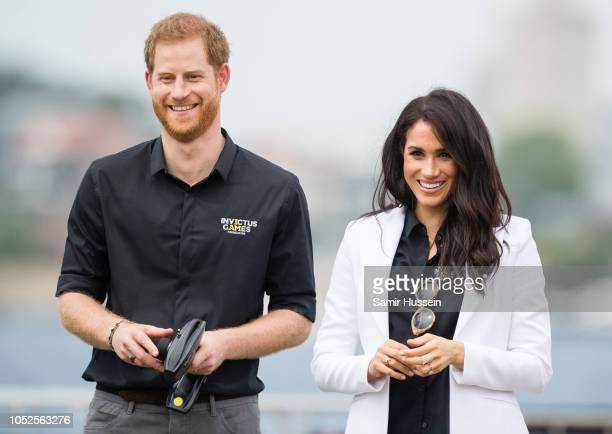 Prince Harry Duke of Sussex and Meghan Duchess of Sussex attend the Jaguar Land Rover Driving Challenge at the Invictus Games on October 20 2018 in...