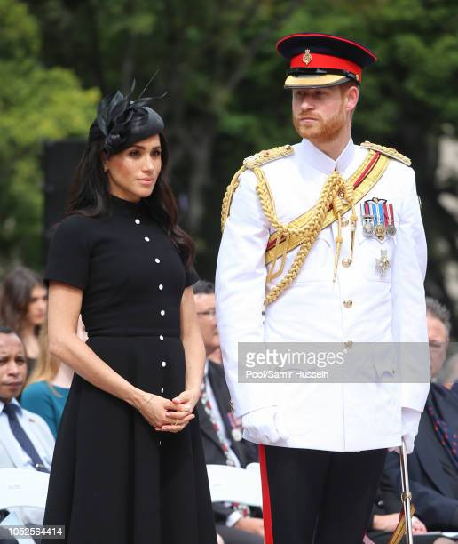 Prince Harry Duke of Sussex and Meghan Duchess of Sussex attend the official opening of the extension of the ANZAC Memorial in Hyde Park on October...