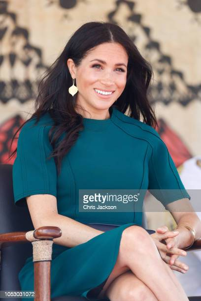 Prince Harry Duke of Sussex and Meghan Duchess of Sussex attend the Unveiling of the Labalaba Statue on October 25 2018 in Nadi Fiji The Duke and...