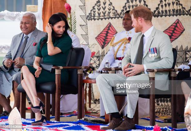 Prince Harry Duke of Sussex and Meghan Duchess of Sussex attend the unveiling of the Labalaba Statue at Nadi Airport on October 25 2018 in Nadi Fiji...