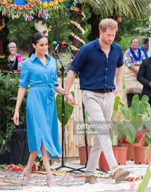 Prince Harry Duke of Sussex and Meghan Duchess of Sussex attend the unveiling of The Queen's Commonwealth Canopy at Tupou College on October 26 2018...