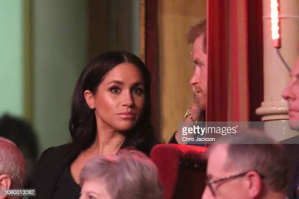 Prince Harry Duke of Sussex and Meghan Duchess of Sussex attend the Royal British Legion Festival of Remembrance at the Royal Albert Hall on November...