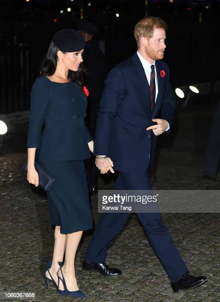 Prince Harry Duke of Sussex and Meghan Duchess of Sussex attend the Centenary Of The Armistice Service at Westminster Abbey on November 11 2018 in...