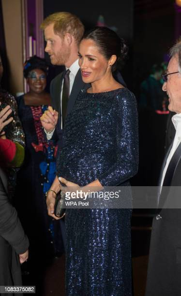 Prince Harry Duke of Sussex and Meghan Duchess of Sussex attend the Cirque du Soleil Premiere Of 'TOTEM' at Royal Albert Hall on January 16 2019 in...