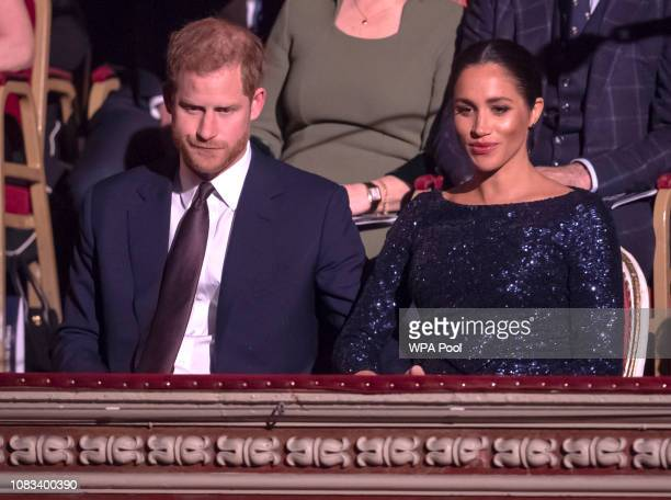 "Prince Harry, Duke of Sussex and Meghan, Duchess of Sussex attend the Cirque du Soleil Premiere Of ""TOTEM"" at Royal Albert Hall on January 16, 2019..."