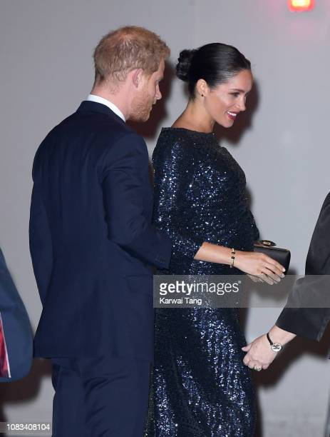 Prince Harry Duke of Sussex and Meghan Duchess of Sussex attend the Cirque du Soleil Premiere Of TOTEM at Royal Albert Hall on January 16 2019 in...