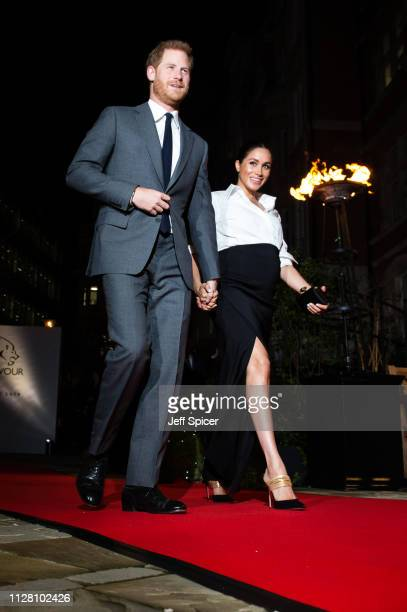 Prince Harry, Duke of Sussex and Meghan, Duchess of Sussex attend the Endeavour Fund awards at Drapers' Hall on February 07, 2019 in London, England.