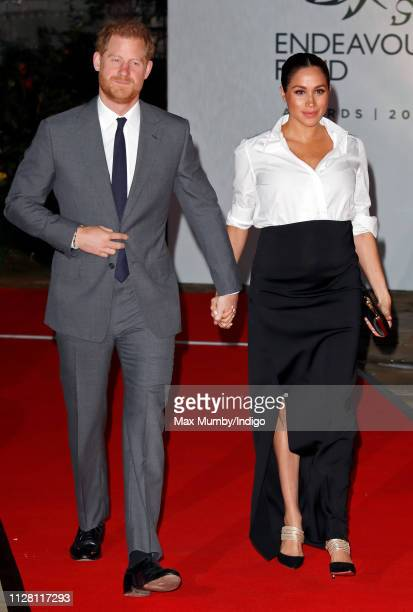 Prince Harry Duke of Sussex and Meghan Duchess of Sussex attend the Endeavour Fund awards at Drapers' Hall on February 7 2019 in London England The...
