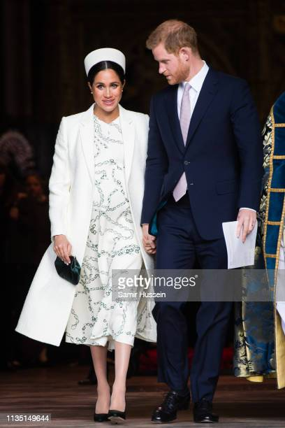 Prince Harry Duke of Sussex and Meghan Duchess of Sussex attend the Commonwealth Day service at Westminster Abbe6 on March 11 2019 in London England