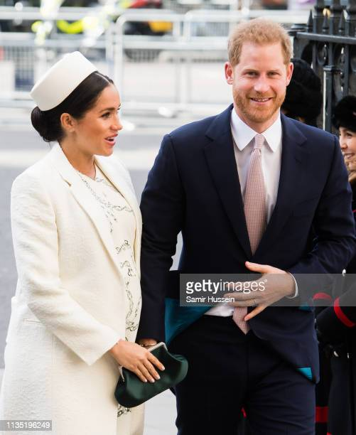 Prince Harry, Duke of Sussex and Meghan, Duchess of Sussex attend the Commonwealth Day service at Westminster Abbey on March 11, 2019 in London,...