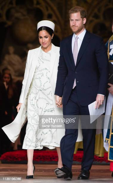 Prince Harry Duke of Sussex and Meghan Duchess of Sussex attend the Commonwealth Day service at Westminster Abbey on March 11 2019 in London England