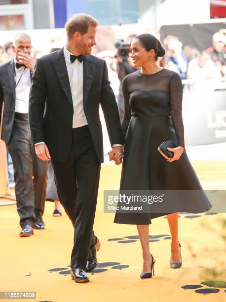 "Prince Harry, Duke of Sussex and Meghan, Duchess of Sussex attend ""The Lion King"" European Premiere at Leicester Square on July 14, 2019 in London,..."
