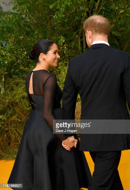 """Prince Harry, Duke of Sussex and Meghan, Duchess of Sussex attend """"The Lion King"""" European Premiere at Leicester Square on July 14, 2019 in London,..."""