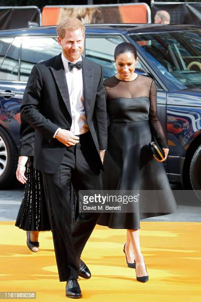 Prince Harry Duke of Sussex and Meghan Duchess of Sussex attend the European Premiere of The Lion King at Odeon Luxe Leicester Square on July 14 2019...
