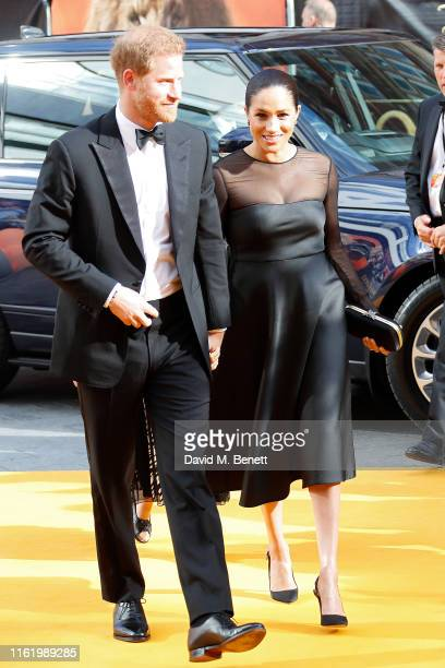 """Prince Harry Duke of Sussex and Meghan Duchess of Sussex attend the European Premiere of """"The Lion King"""" at Odeon Luxe Leicester Square on July 14,..."""