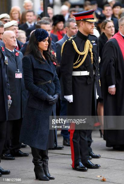 Prince Harry, Duke of Sussex and Meghan, Duchess of Sussex attend the 91st Field of Remembrance at Westminster Abbey on November 07, 2019 in London,...