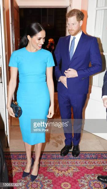 Prince Harry Duke of Sussex and Meghan Duchess of Sussex attend the annual Endeavour Fund Awards at Mansion House on March 5 2020 in London England...