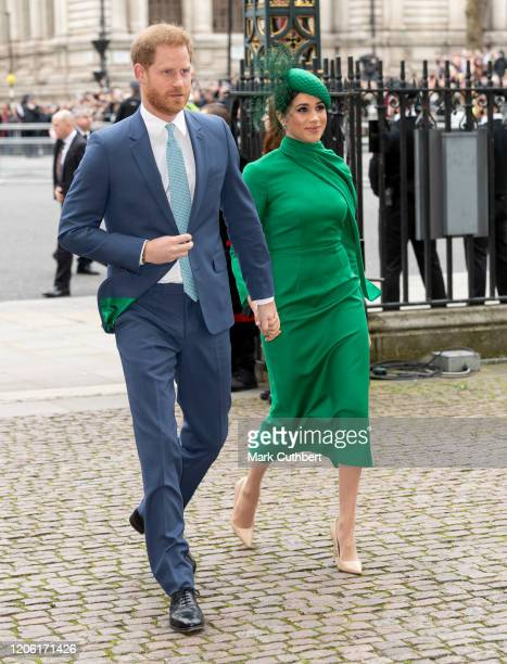 Prince Harry Duke of Sussex and Meghan Duchess of Sussex attend the Commonwealth Day Service 2020 at Westminster Abbey on March 9 2020 in London...