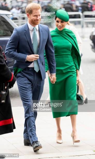 Prince Harry, Duke of Sussex and Meghan, Duchess of Sussex attend the Commonwealth Day Service 2020 at Westminster Abbey on March 9, 2020 in London,...