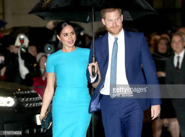 Prince Harry Duke of Sussex and Meghan Duchess of Sussex attend The Endeavour Fund Awards at Mansion House on March 05 2020 in London England