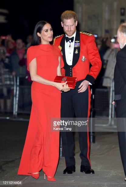 Prince Harry Duke of Sussex and Meghan Duchess of Sussex attend the Mountbatten Festival of Music at Royal Albert Hall on March 07 2020 in London...